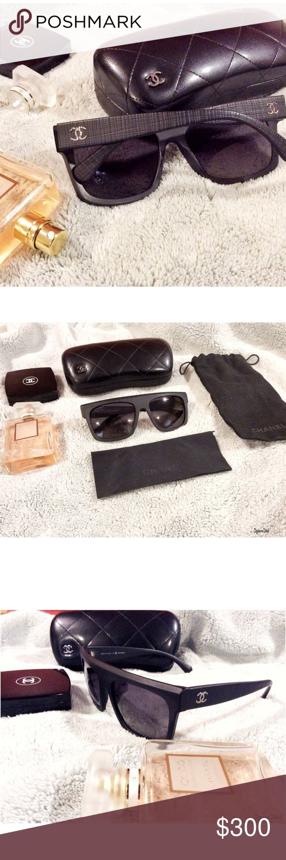 New Chanel Flat Top Sunglasses Authentic. This is my lowest price because these are brand new. Worn once and I'd rather have a different shape. Polarized. Comes w/ hard case, sleeper bag & dust cloth. I still have tag as well. This style is still selling in boutiques so you can have it at discounted price here. *I personally style all pics, no modeling* NO TRADE. CHANEL Accessories Sunglasses
