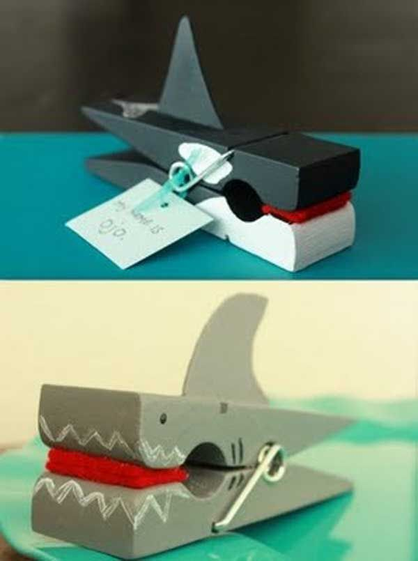 Shark Clothes Pin Craft