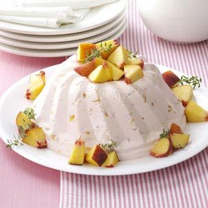 Peach Bavarian, I have been making this recipe every year for at least 10 years, it is very light and goes down great after eating a Thanksgiving dinner.