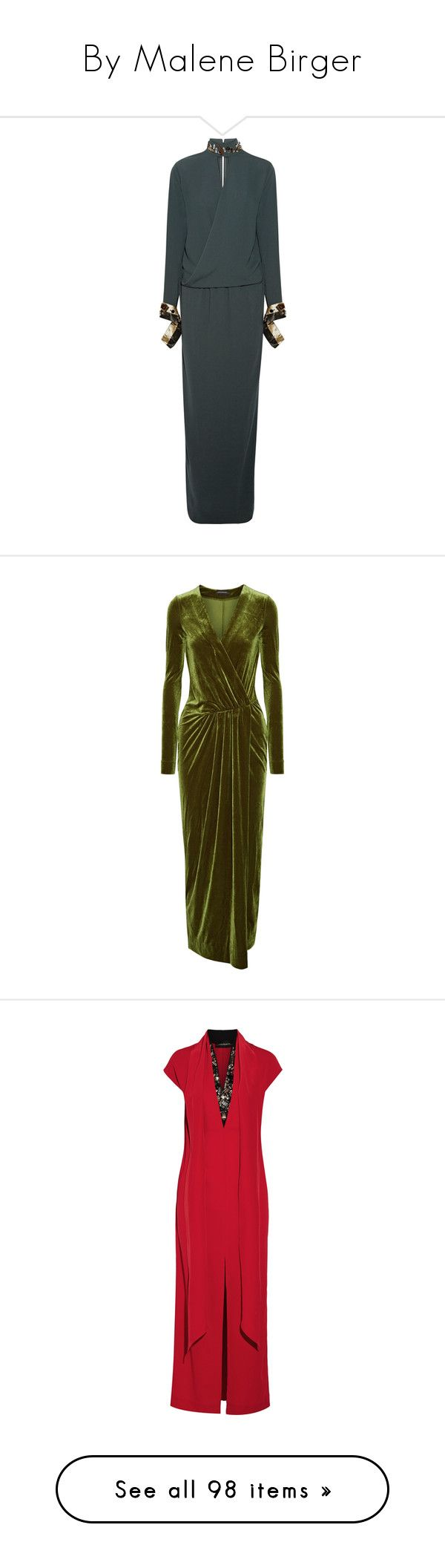 """""""By Malene Birger"""" by ahmady ❤ liked on Polyvore featuring dresses, emerald, embellished long dress, high neck maxi dress, long wrap dress, metallic long dress, high neck long dress, green, brown velvet dress and green wrap dress"""