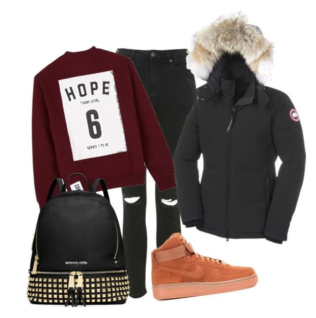 """""""Hope"""" by amuramasri on Polyvore featuring Topshop, NIKE, Canada Goose, Studio Concrete and MICHAEL Michael Kors"""