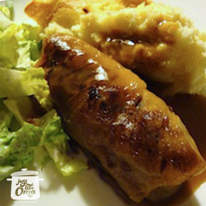 German Cabbage Rolls -- so yummy with brown gravy and mashed potatoes. Truly authentic German ... Check out http://www.quick-german-recipes.com/cabbage-rolls-recipe.html ❤️it!  it! Make it! Enjoy it!