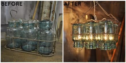 Mason jars are ubiquitous in the DIY/upcycling world. Take a stab at the repurposing trend by turning these containers into a rustic chandelier.