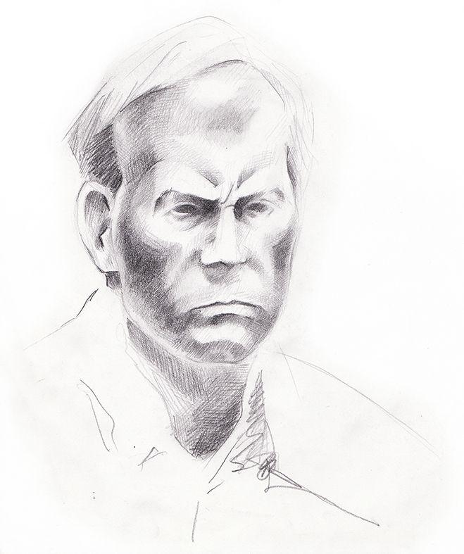 Sketch, man's head.