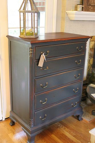Graphite colored Chalk Paint... Love this Dresser ~ Look at the feet/legs on it.. She's a beaut!!