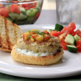 Thumbnail image for Indian Chicken Burgers with Mango Salsa and Cucumber Raita