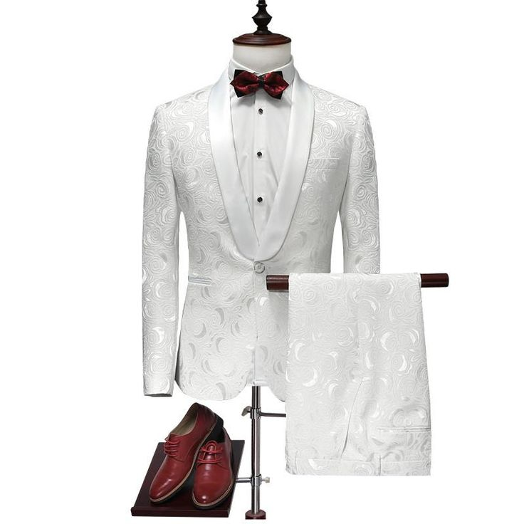 2017 Latest Coat Pant Designs White Wedding Tuxedos Suit Slim Fit Printed Suit