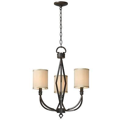 World Imports 3503-42 Decatur 3 Light Iron Chandelier with Shades, Rust