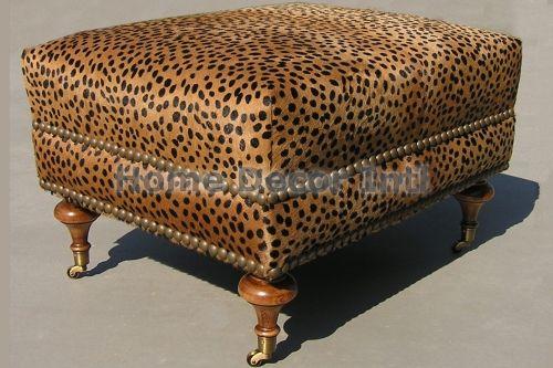 Stenciled Cheetah Cowhide Ottoman Love Accents