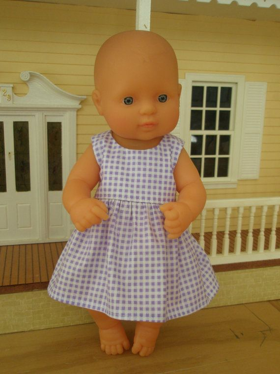 Mauve and White Check Summer Dress by DebsDollsClothes on Etsy