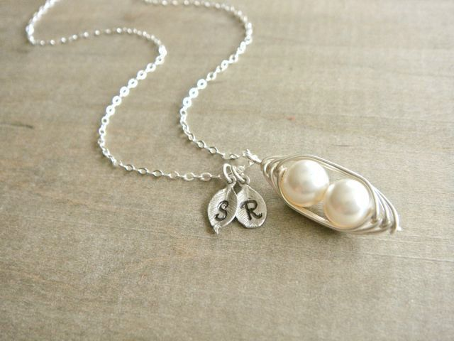 Personalized 2 Peas in a Pod wrapped in Sterling Silver - Choose your INITIAL and PEARL COLOR - Mothers Day. $35.00, via Etsy.