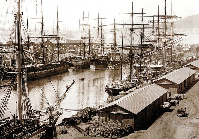 The Alfred Basin, Table Bay Harbour, Cape Town. The Alfred Basin, photographed in 1900, is seen here bursting at the seams with the sailing ships that plied their trade to and from the Cape. Through the rigging, a number of other ships can be seen at anchor in Table Bay| Flickr - Photo Sharing!