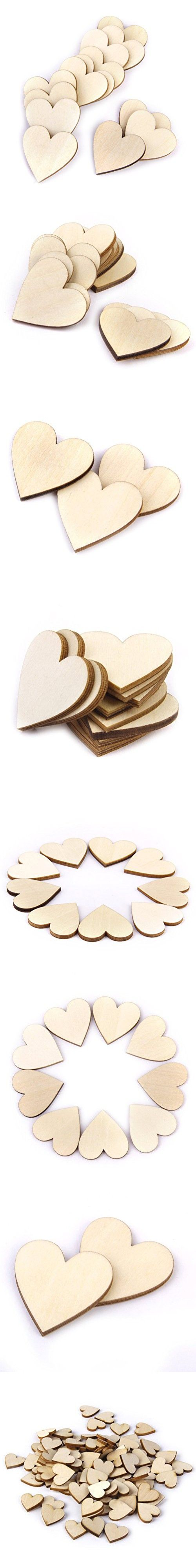 Wedding ornaments - Oulii Blank Heart Wood Slices Discs Wedding Christmas Ornaments Pack Of 50 40mm