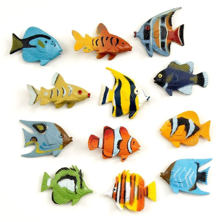 "Tropical Fish Party Favors - 36 Pack. 36 pack - Fish Assortment varies. Averages about 1.5"" in length. Great fun party favors and art &decoration possibilities. They don't float in water, and typically 3 of each color included. Made of Soft Plastic."