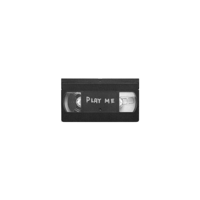 Play Me Polyvore Moodboard Filler Black Tape Vhs White Aesthetic Mood Boards Aesthetic