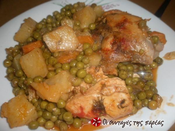 Κοτόπουλο με καρότα και αρακά #sintagespareas