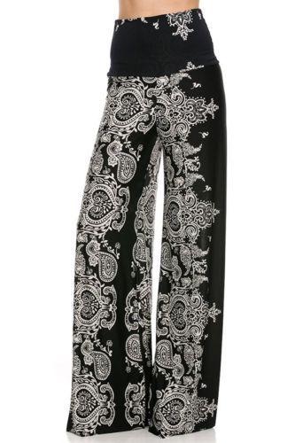 Sexy Fold Over Waist Wide Leg Paisley Black Print Tall Yoga Palazzo Pants s M L | eBay