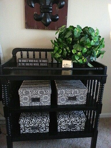 Amazing what you can do with an old changing table and some paint!! Thanks Pinterest! !