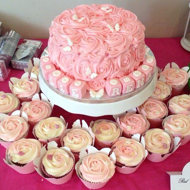 Pink rose red velvet cake and cupcake