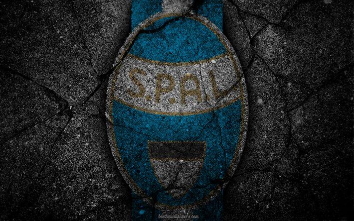 Descargar fondos de pantalla Spal, logotipo, del arte, de la Serie a, fútbol, club de fútbol, el Calcio, el asfalto de la textura