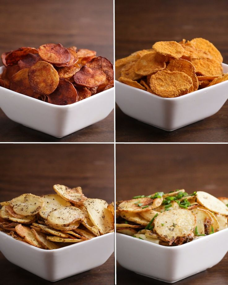 Baked Potato Chips 4-Ways (sub with sweet potatoe)