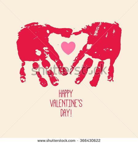 Valentine's day abstract background with handprint heart. Heart hands. Children handprint art. Kids craft. Vector eps 10 illustration