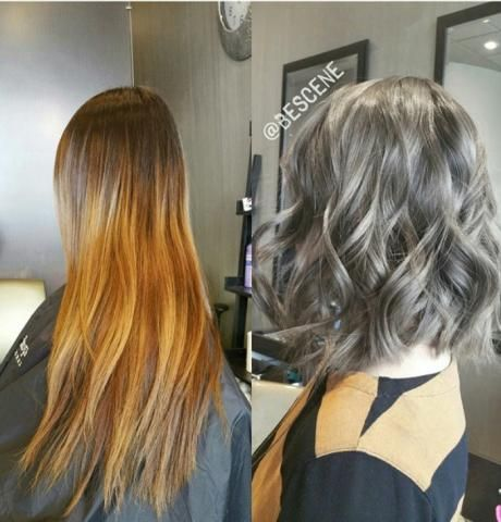 TRANSFORMATION: Old Ombre To Charcoal LOB | Modern Salon STEP 1: Cut the hair to the desired length.  STEP 2: Balayage up to the root using Schwarzkopf Blonde Me premium 9+ and 30 volume developer (blended with Olaplex).  STEP 3: Process for 30 minutes at room temperature. Rinse.  STEP 4: Tone from root to end with Schwarzkopf Igora Royal 6-32 and 4-13 and a ribbon of 0-22, using 7 volume developer for deposit.  STEP 5: Process for 45 minutes at room temperature. Rinse