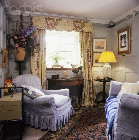 A Miss Marple sitting room where she whiles away the day knitting, sipping tea, and pondering the strange occurrences in St. Mary Mead, putting the pieces together like a puzzle.