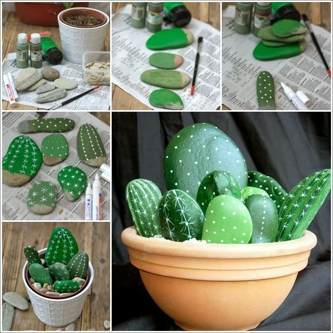 Rock Cactus Garden, such a great idea!!