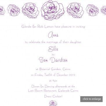 Hand Drawn Violet & White Roses Wedding Invitations