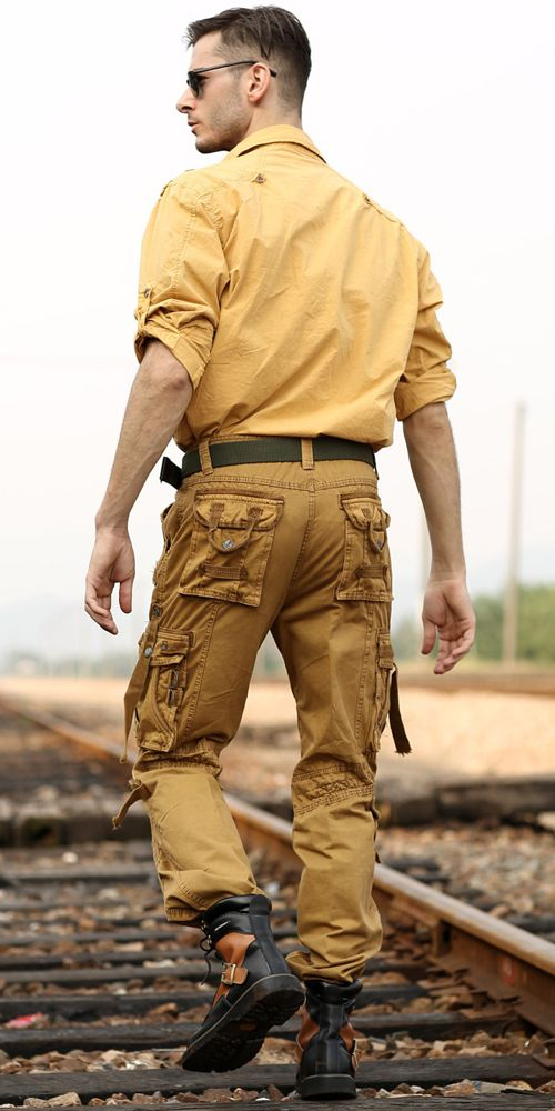 Dark yellow shirt u0026 brown pants with numerous pockets for menu0026#39;s safari clothing style. Green ...