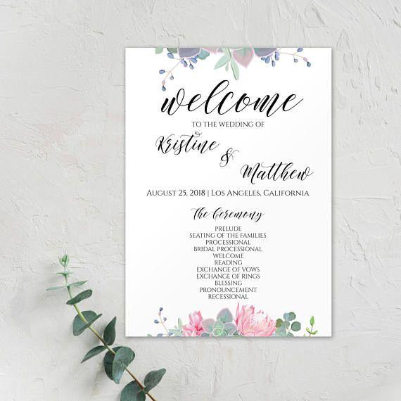 Printable Ceremony, Wedding Program Template, #weddings #invitation @EtsyMktgTool http://etsy.me/2z9Aq4P #weddingprogram #moderncalligraphy