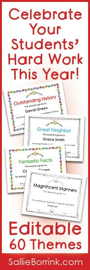 Celebrate your students' accomplishments this year with these editable certificates! The set includes 60 different topics that highlight not just the best of something, but also progress and improvement. These certificates are available in color, black/white and both. A great way to congratulate your hard-working students!