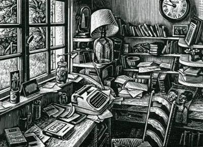 Howard Phipps. The Workroom Window. (wood engraving)