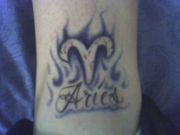 Attractive Flaming Aries Zodiac Tattoo