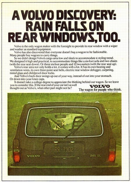 Descoberta da Volvo: tb chove na janela traseira