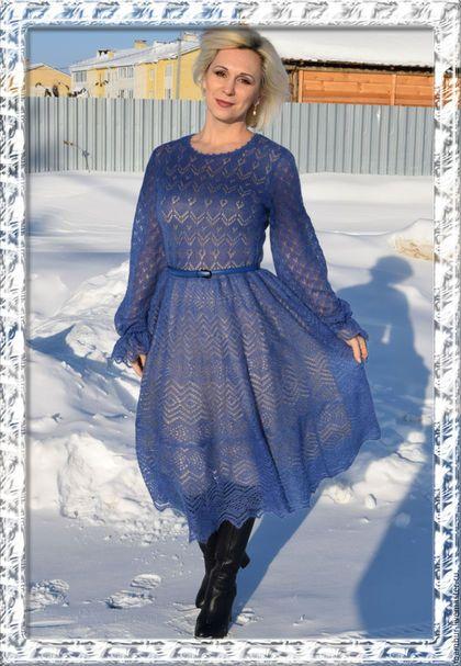Купить или заказать Ажурное платье 'Скоро весна' в интернет-магазине на Ярмарке Мастеров. Воздушное, ажурное вязаное платье из мягчайшего итальянского мохера AURORA от Ilaria Calenzano 70% кид мохер 30% па 1000 метров/100 гр. шикарного оттенка - глубокий фиалково-голубой, не яркий, не 'кричащий', очень спокойный, благородный. Смотрится просто роскошно! Оно мягкое и очень приятное. Юбка отрезная по талии, расклешенная. Рукав чуть расклешенный, собран на вязаный шнурок.