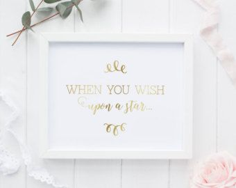 Disney Art Print | When You Wish Upon a Star | Princess Party Sign | Girl Baby Shower Sign | Baby Girl Nursery Decor