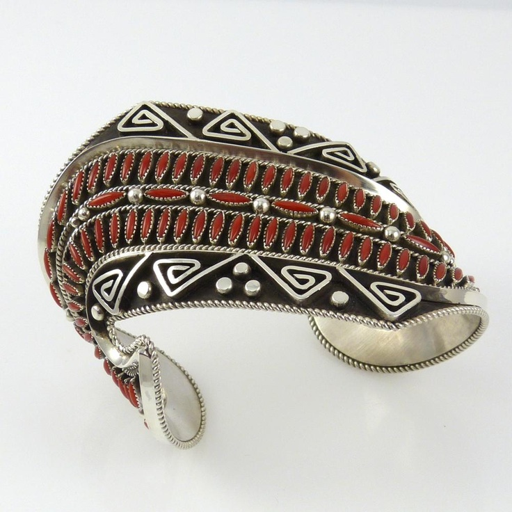 Coral Needlepoint Wide Cuff by Billy Betoney, Navajo, sterling silver and coral