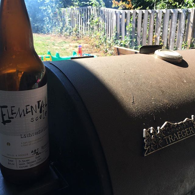 Backyard BBQ'ing with #burnsidebrewery beer...#traeger Reposted Via @the_conehead_cowboy