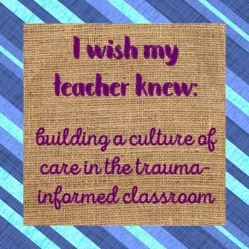 "Building a trauma informed classroom isn't something we're always trained for. Often, teachers don't have the same insight into student needs as school counselors (or the students themselves). This no-prep lesson builds on the ""I wish my teacher knew..."" fad to include passive reinforcement of letter writing skills, because there's always room for common core standards in school counseling interventions.This download includes everything you will need to pilot an ""I wish my teacher knew...""…"