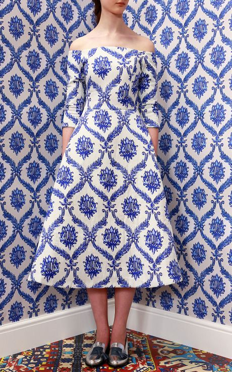 Porcelain Wallpaper Off Shoulder Dress by Tata Naka for Preorder on Moda Operandi