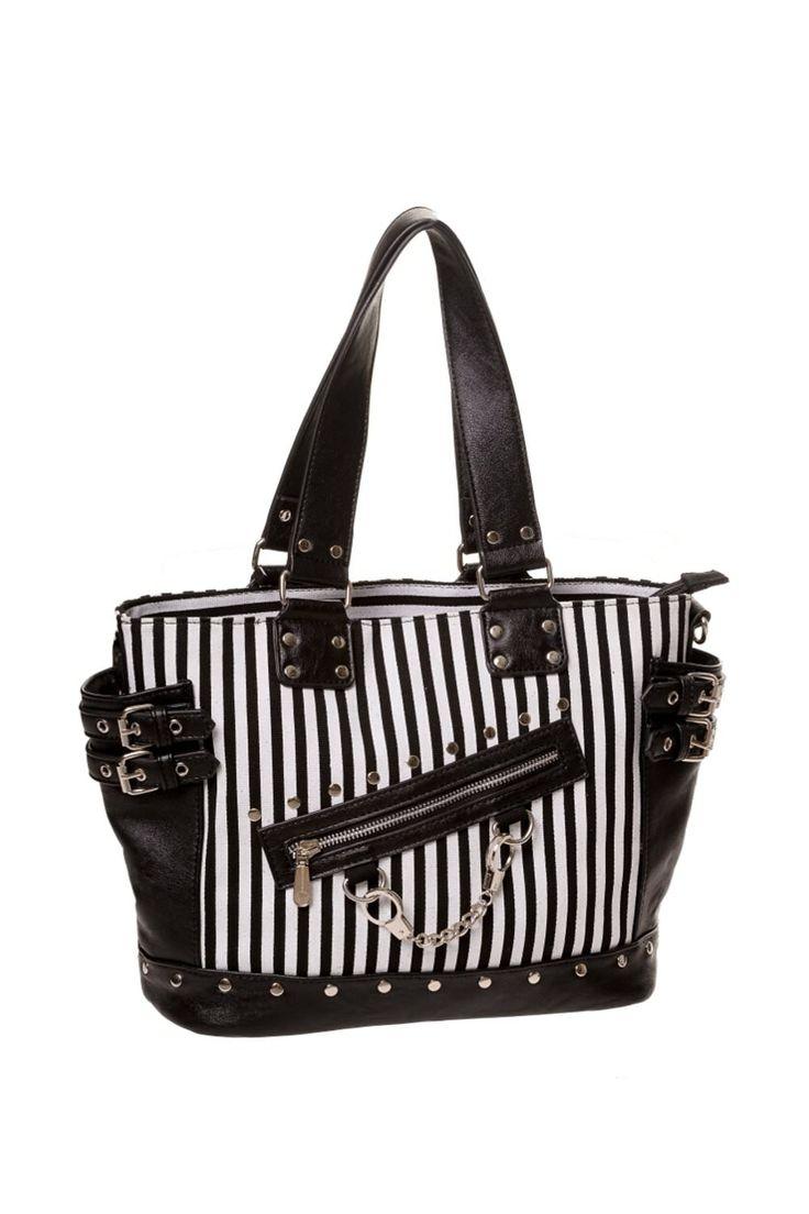 ✝JUST ADDED✝ Handcuff Handbag: Stripes & Black. #shamorg #gothicbags