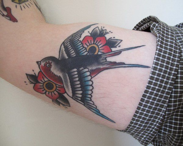 Swallow arm tattoo - 50 Lovely Swallow Tattoos  <3 !