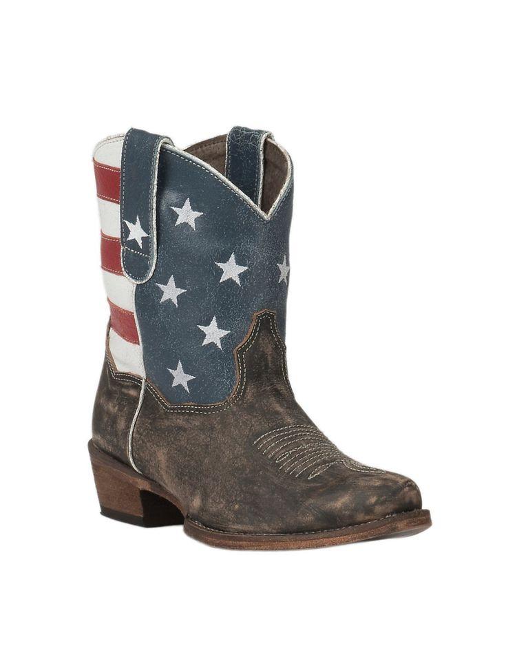 Roper Women's Sanded Brown with American Flag Short Top Snip Toe Western Boot | Cavender's