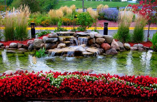 Beautiful Flower Garden With Fountain Home Exterior
