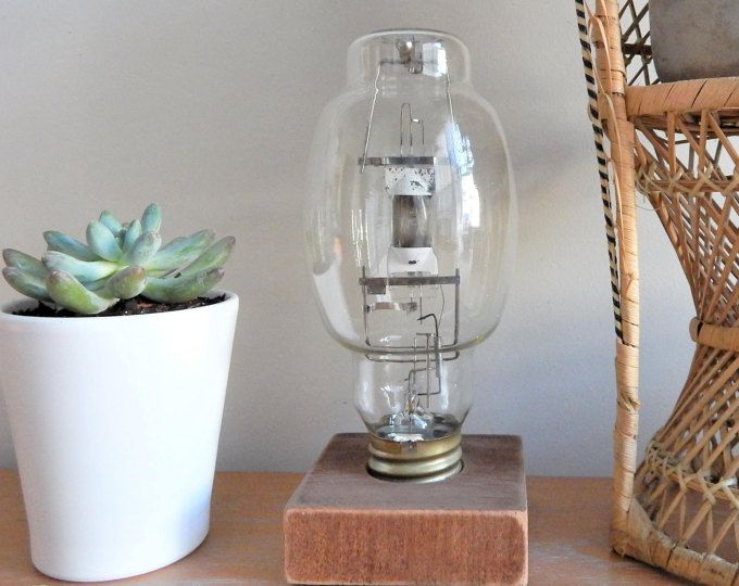 Vintage Industrial Light Bulb on Wood Stand | Decorative Tabletop Accessory | Light Bulb Statue