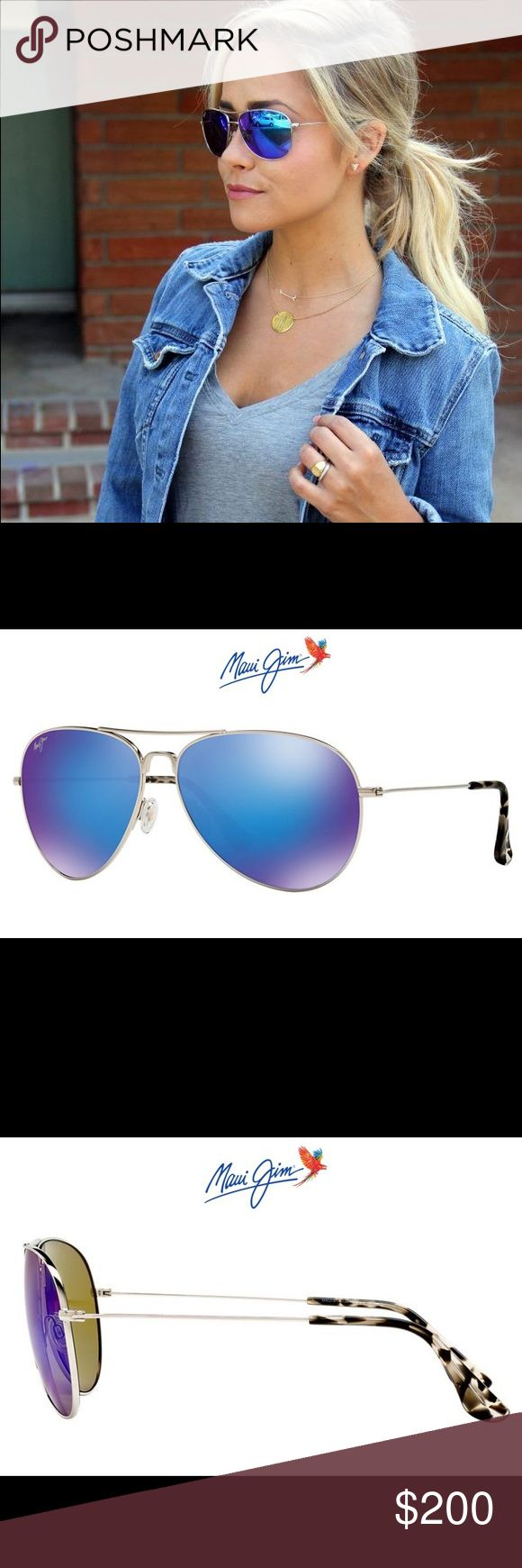 New Maui Jim Mavericks Blue Women's Sunglasses  New Maui Jim Blue Hawaii Maverick Sunglasses for Women!! Super stylish aviator design with blue mirrored lenses. See pictures for size details. Gorgeous glasses! Bought them online and they don't fit my face  Maui Jim Accessories Sunglasses