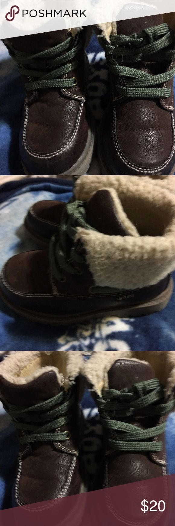 Boys high top boots Brown with green laces fur around the top EUC size 10 carters Shoes Boots