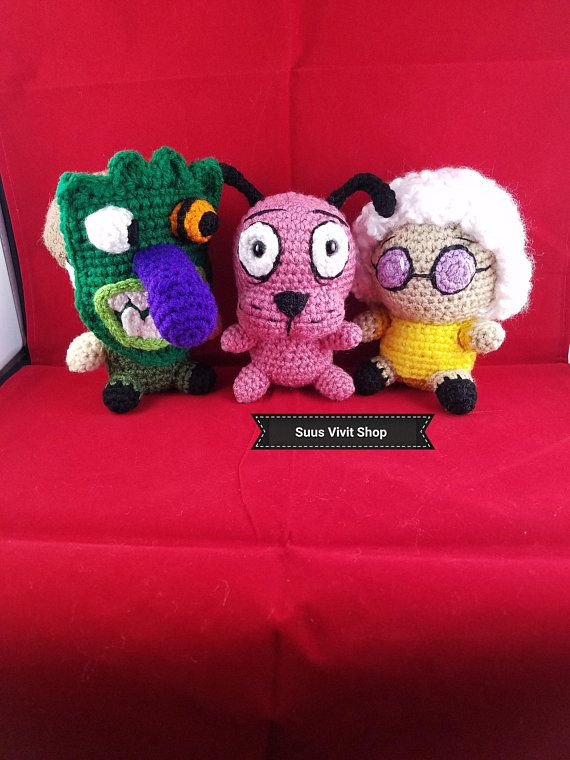 Courage The Cowardly Dog Inspired Amigurumi Ready To Ship Series